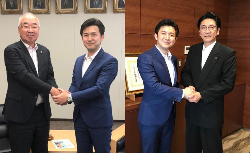 榊原純夫半田市長と竹内啓二阿久比町長のもとを表敬訪問