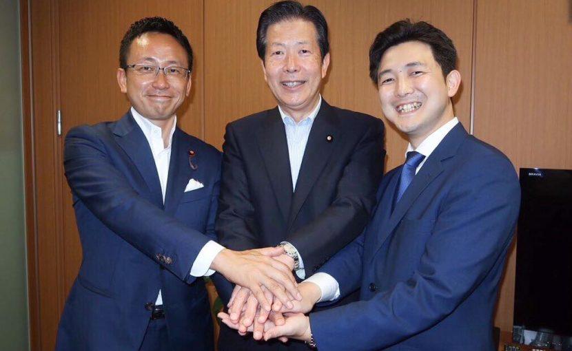 伊藤渉・公明党愛知県代表、安江のぶお、山口那津男・党代表とともに