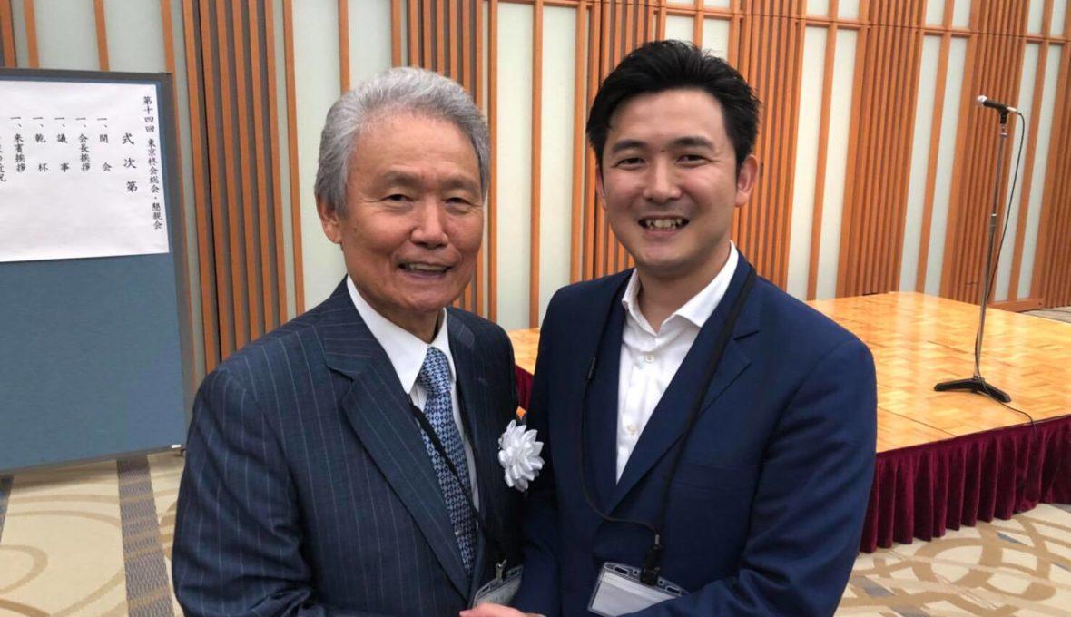 半田高校の同窓会・東京柊会会長・榊原定征様に挨拶