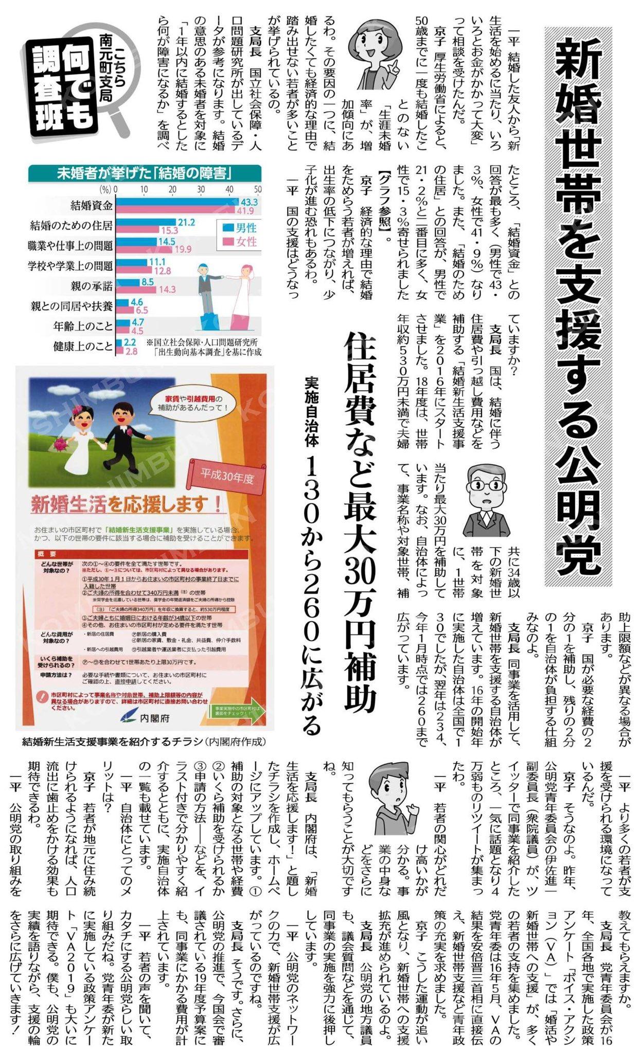 (KOMEI@「何でも調査班」)新婚世帯を支援する公明党/住居費など最大30万円補助/実施自治体130から260に広がる