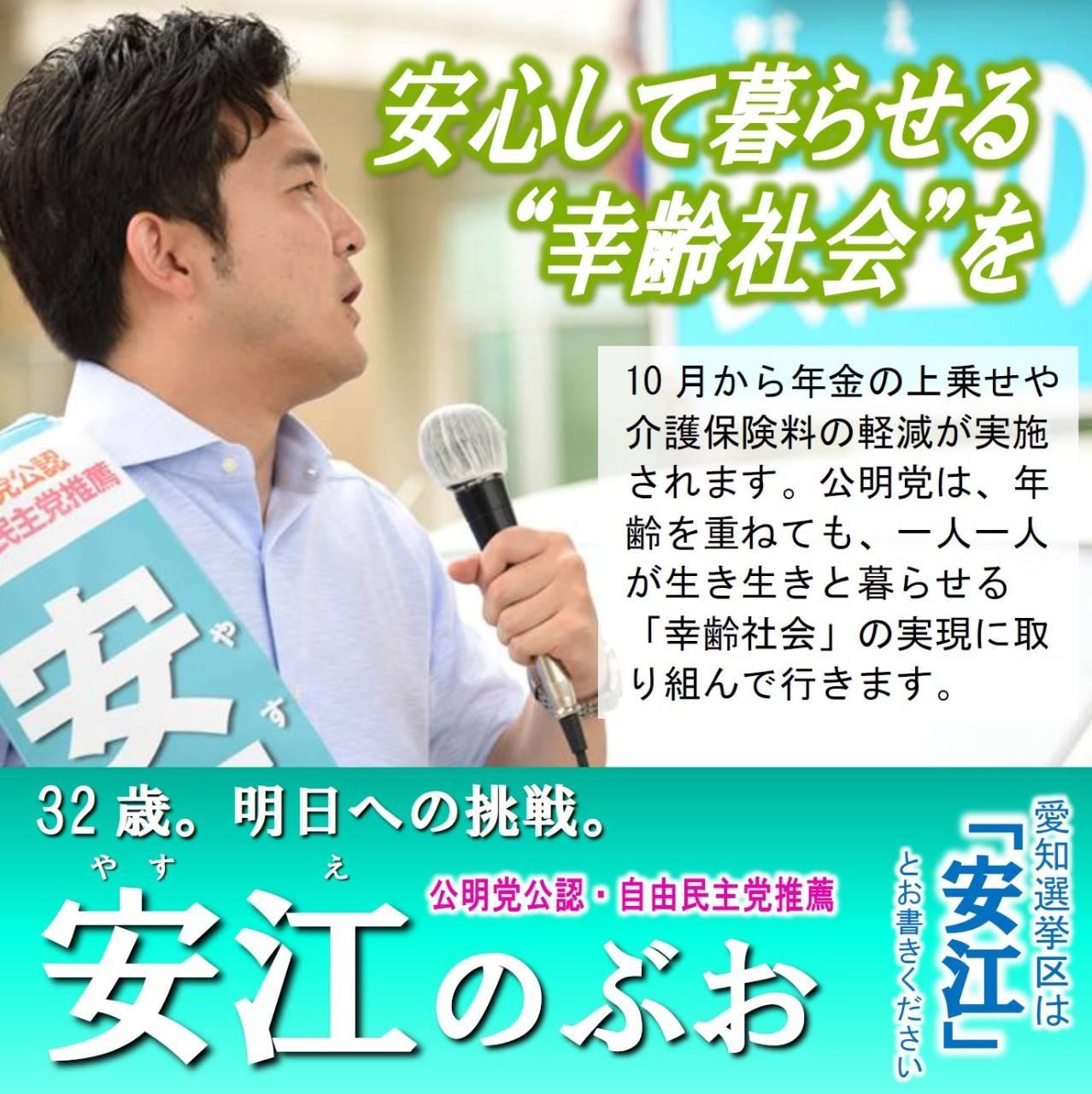 安心して暮らせる幸齢社会を 安江のぶお 2019年参院選 愛知選挙区候補