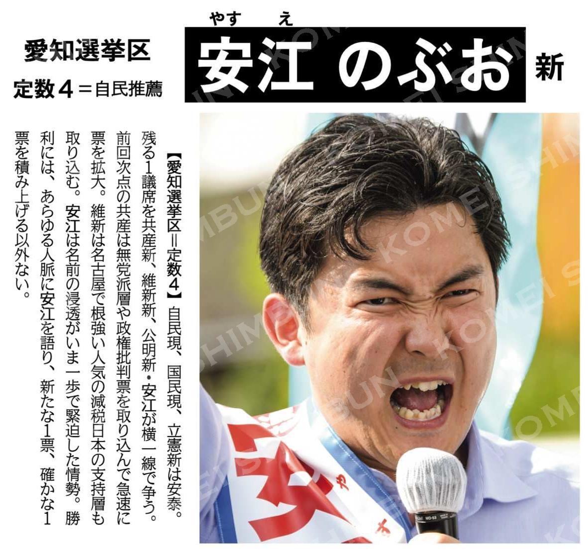 (激戦突破へ猛攻を)安江のぶお 新/愛知選挙区(定数4=自民推薦)
