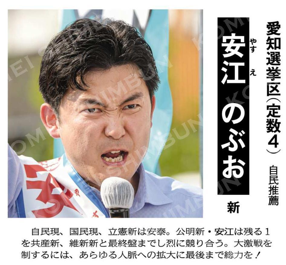 愛知選挙区(定数4)=自民推薦 安江のぶお 新