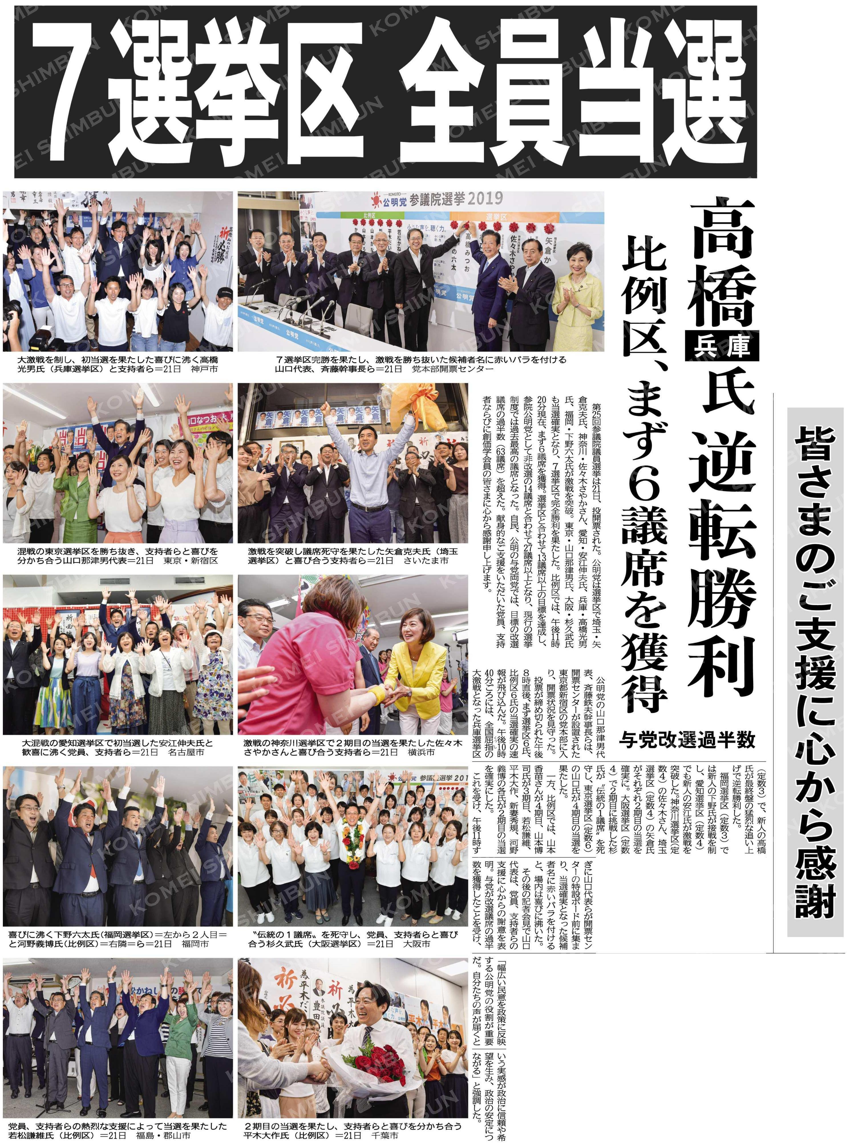7選挙区全員当選/高橋氏(兵庫)逆転勝利/比例区、まず6議席を獲得