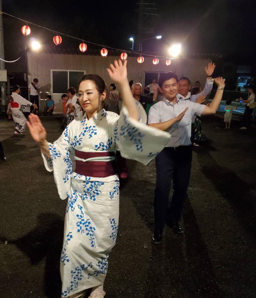 知多市の岡田と日長1区の盆踊りに参加