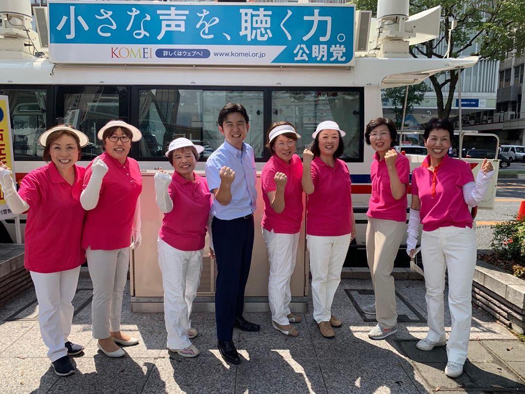 名古屋駅前で愛知県本部女性局の皆様と街頭演説