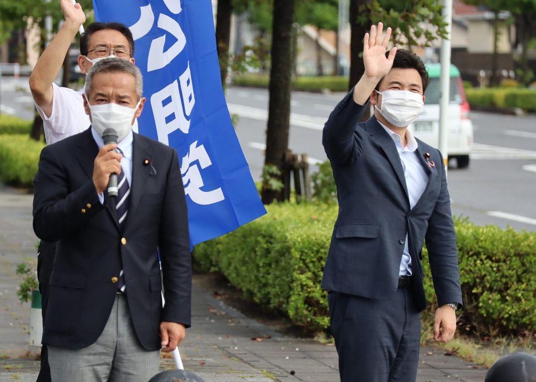 西尾市で自民党の青山周平衆議院議員、山田たかお愛知県会議員と