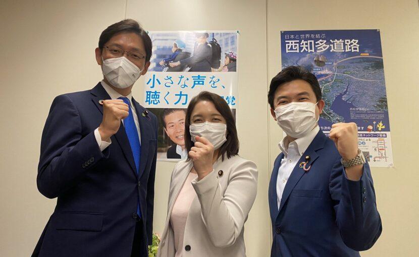 竹谷とし子理事のもと、高橋光男さん、安江伸夫